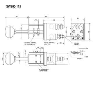 SW200-219 Albright Single Acting Solenoid Contactor 80V Intermittent